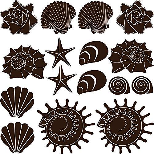 GRAZDesign Bad Deko Tattoos Seesterne - Maritime Dekoration Fliesentattoos 16 Teile Set - Wandtattoo Badezimmer viele Größen / 57x57cm / Farbe 080 braun