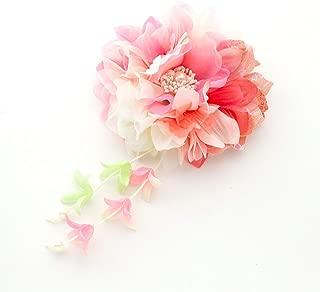 [ミッシュキッシュ]髪飾り ヘアアクセサリー コサージュ ダリアと下がりの和柄クリップ 4517-518