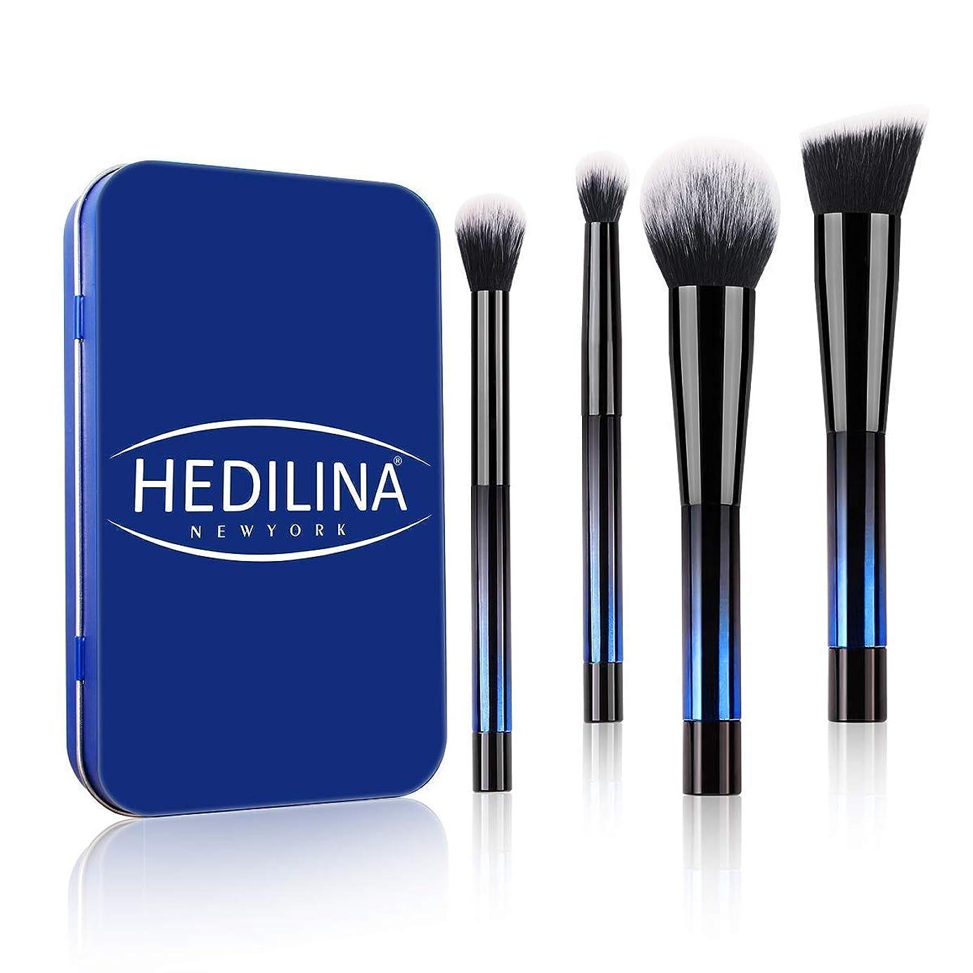 コミット面気がついてHEDILINA メイクアップブラシ 4本セット アイブラシ 高級繊維毛 ケース付き 旅行/出張用 ポータブル