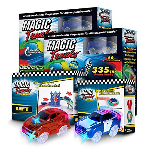 BCdirekt Magic Tracks Autorennbahn Set | Autorennbahn für Kinder ab 3 Jahren | Autobahn Kinder | Auto Spielzeug | Rennbahn Leuchtend