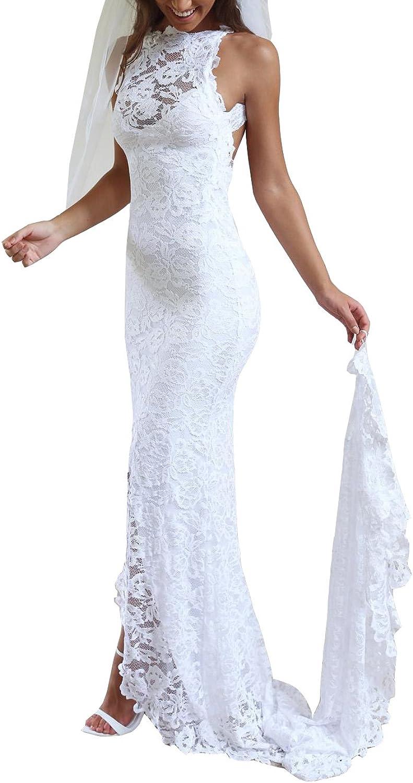 Ikerenwedding Women's Halter Lace Backless Split Mermaid Beach Wedding Dress