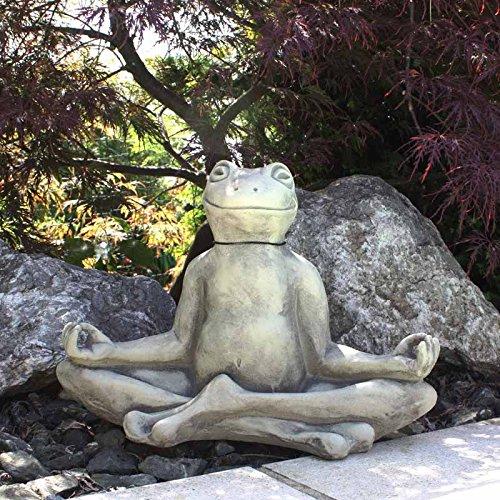 Vidroflor Steingussfigur Yoga-Frosch, Grau, 18/38/29 cm