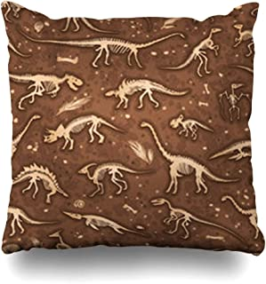 VivYES Throw Pillow Covers Tyrannosaurus Dino Skeletons Dinosaurs Fossils Realistic Sketch Set Bones Diplodocus Triceratops Zippered Pillowcases Square Size 16