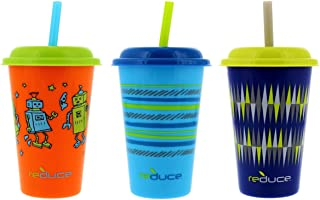 Reduce GoGo's 12oz Straw Cups for Kids, 3 Pack Cosmic - Kids Cups with Lids and Straws are the Perfect Toddler Tumbler for Home and Travel - BPA Free, Dishwasher Safe, 3 Fun Designs, Fits Cupholders