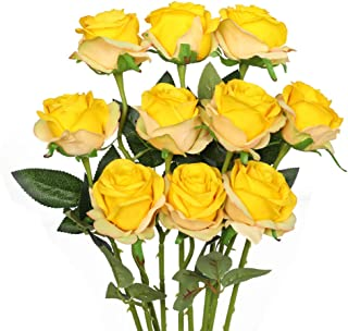 Luyue Artificial Silk Rose Flower Bouquet Wedding Party Home Decor, Pack of 10-Gradient Yellow