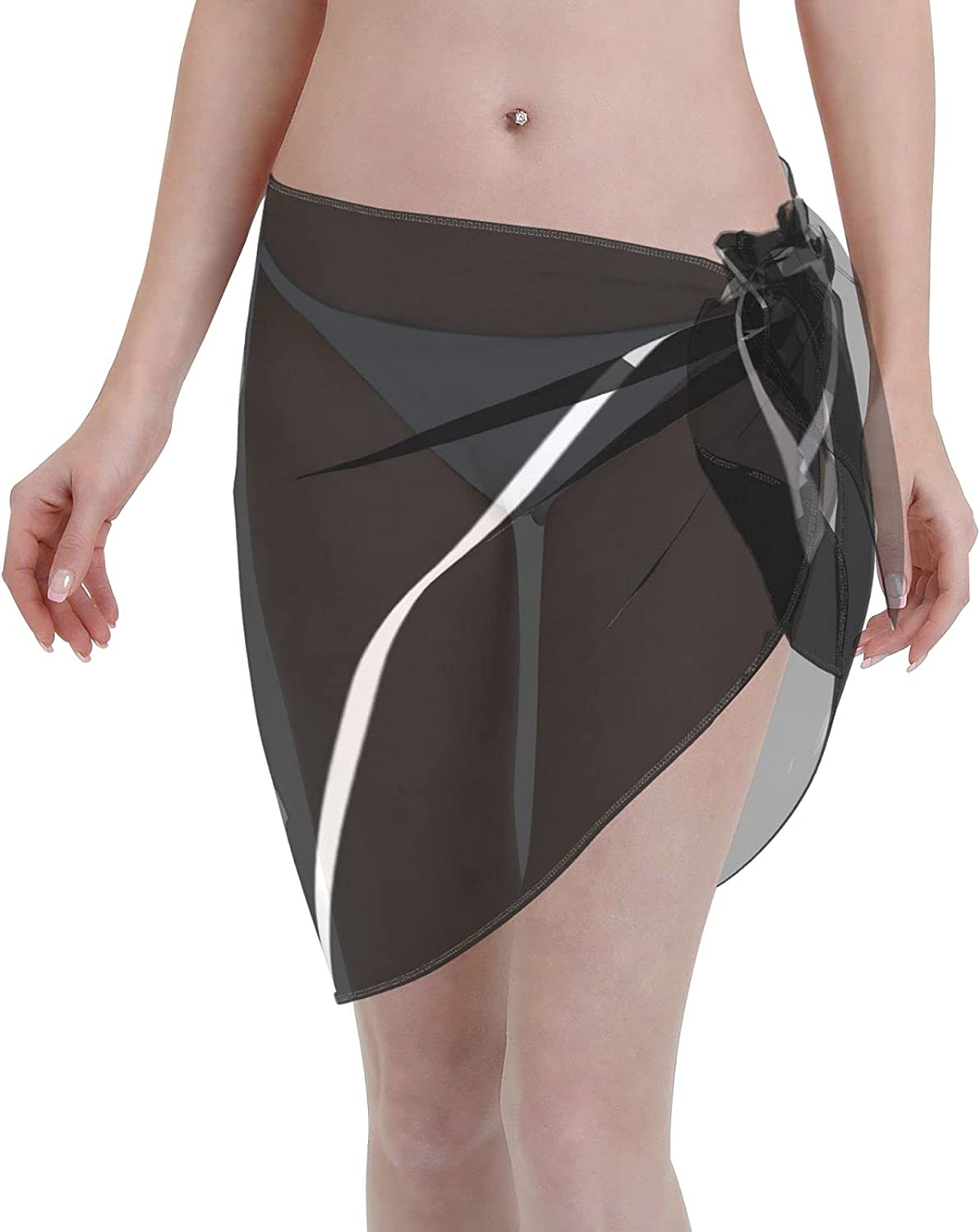 2053 pants Geometric Abstract - Black and White. Women Chiffon Beach Cover ups Beach Swimsuit Wrap Skirt wrap Bathing Suits for Women