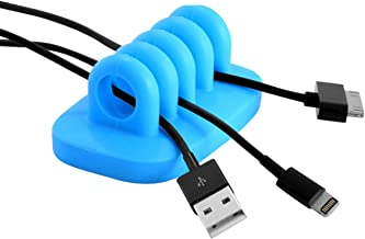 Cable Clip Holder Weighted Desktop Cord Management Fixture (Blue)