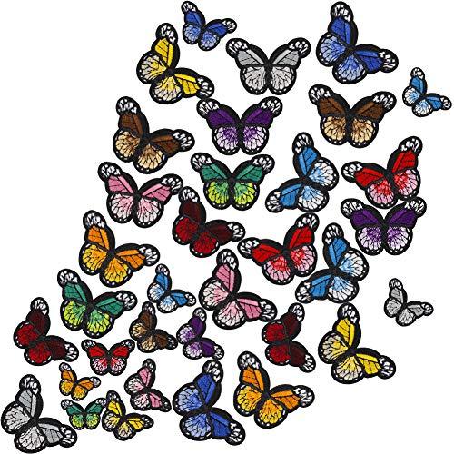 FRIUSATE 36 Piezas Parches Decorativos Mariposas Parches para Ropa Termoadhesivos Parches Mariposas Parches Bordados Mariposas para Camiseta Jeans Ropa Bolsas Zapatos Decorativos para Planchar y Coser