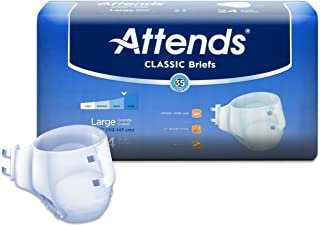 Attends Classic Briefs with Dry-Lock Technology for Adult Incontinence Care, Large, Unisex, 24 Count (Pack of 3)