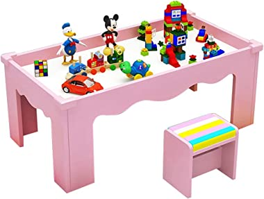 Kids Study Table Kids Study Table Children's Wooden Table Multi-Function Game Study Table can Withstand The Weight of 200KG Game Table (Color : Pink)