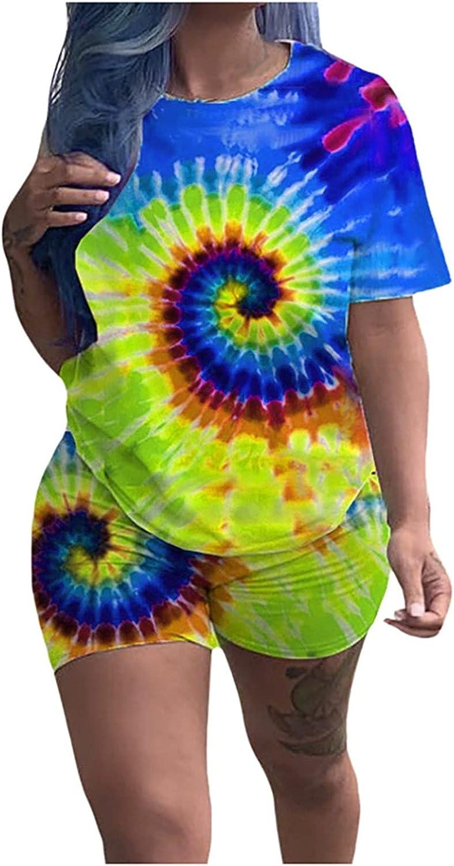 iQKA Women Loungewear Two Piece Outfits Tracksuit Tie Dye Print Short Sleeve O-Neck Shirt Shorts Set