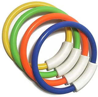 NUOLUX Diving Rings Pool Toy, 4 Ring Game Set, Dive Retrieve, Connectable Shapable, Ages 5 up (Orange Green Yellow Blue)