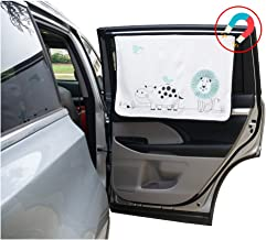 ggomaART Car Side Window Sun Shade - Universal Reversible Magnetic Curtain for Baby and Kids with Sun Protection Block Damage from Direct Bright Sunlight, Heat, and UV Rays - 1 Pack of Lion