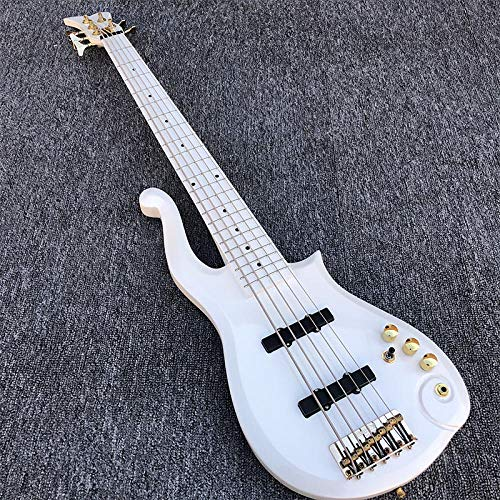 MLKJSYBA Gitarre Elektrische Bassgitarre Weiß 5 String Bassgitarre Akustische Stangengitarren Akustikgitarren (Color : Guitar, Size : 43 inches)
