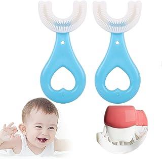 Fkxczn 2 pcsAll afgeronde kinderen U-vorm tandenborstel, 360 ° mondtandenborstel, met siliconen borstel hoofd whitening ma...