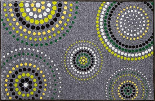 Erwin Müller Fußmatte - rutschfest - Schmutzfangmatte - robust - pflegeleicht - für Innen und Außen - für Fußbodenheizung geeignet - grau - grün - Größe 60x85 cm