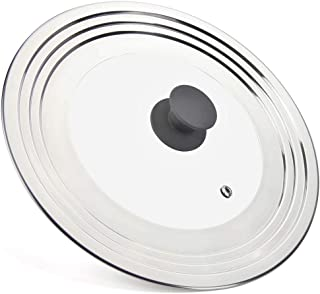 WISH Universal Pans Pots Lid Cover Fit All 7 Inch to 12.5 Inch Pots/Pans/Woks, Stainless Steel and Glass Lid with Heat Res...