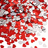 Aneco 100g/2500 Pieces Valentine's Day Table Confetti Love Red Heart Confetti for Arts and Crafts Valentine's Day Party Supplies Table Decorations