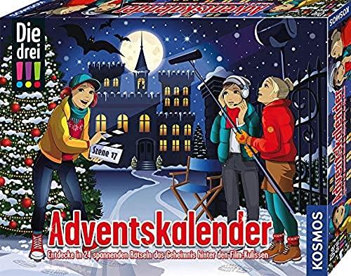 Kosmos 630577 Die drei !!! Adventskalender 2021, Entdecke das Geheimnis hinter den Film-Kulissen, löse spannende Rätsel, mit 24 Detektiv-Gimmicks, Spielzeug-Adventskalender für...