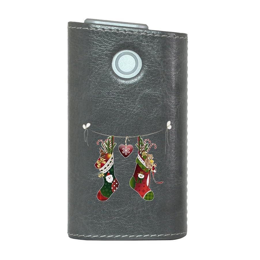 短命体系的にアシストglo グロー グロウ 専用 レザーケース レザーカバー タバコ ケース カバー 合皮 ハードケース カバー 収納 デザイン 革 皮 GRAY グレー クリスマス ハート プレゼント 009968