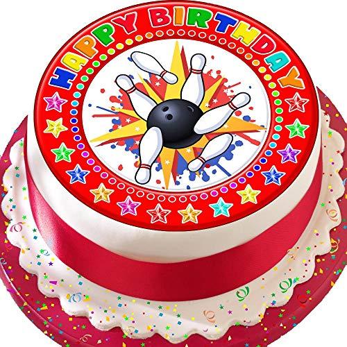 Tenpin Bowling Happy Birthday Kuchendekoration, vorgeschnitten, essbarer Zuckerguss, 19 cm, Rot