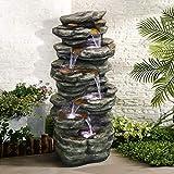 Chillscreamni - Fontana da giardino a 4 livelli, altezza 101 cm, per esterni con luce a LED e suono calmante per interni ed esterni, pietre impilate per cascata e terrazze per casa e ufficio