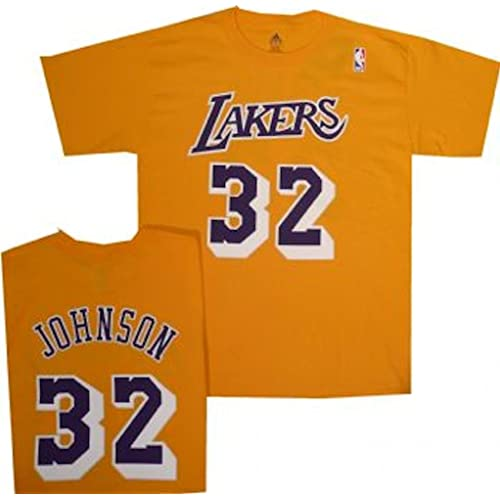 165ab1de2 Los Angeles Lakers Magic Johnson Name and Number Adidas Net Print T Shirt