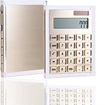 Clear Gold Acrylic Solar Power Calculator (Black Button) by Draymond Story - Home Office Desktop Calculator (12-Digit) - Business Gift Ideas