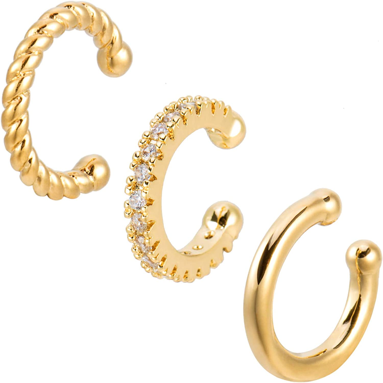 Set of 3 Ear Cuffs Gold Ear Cuff No Piercing Earrings [A Line Earcuff, A Twisted Rope Ear Cuff and A CZ Paved Ear Cuff]