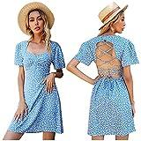 N/AB Vestido de verano para mujer con espalda descubierta, elegante, para el tiempo libre, estilo bohemio, vintage, vestido ligero, estilo boho, túnica, floral, minivestido. azul L