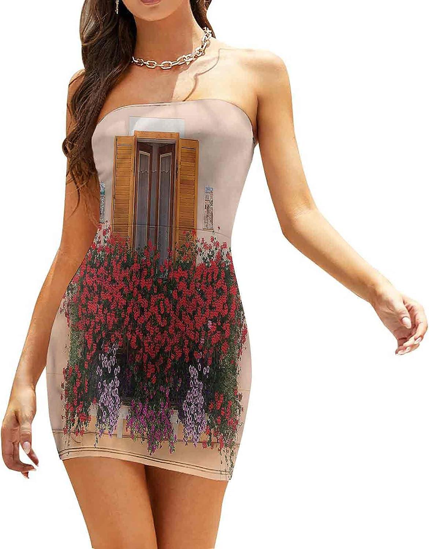Women's Tube Top Beach Mini Dress Traditional Architecure Dresses