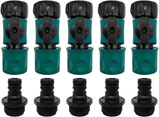 """Plastic Garden Hose Quick Connect with Shutoff Set Male and Female, 3/4"""" Quick Connectors with Valve for Water Hose Coupling, Quick Release Kit Hose Fittings and Adapters (5 Sets/ 10 Pc)"""