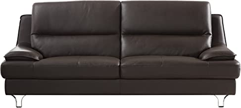 American Eagle Furniture Harrison Collection Genuine Leather Living Room Sofa with Pillow Top Armrests, Dark Chocolate