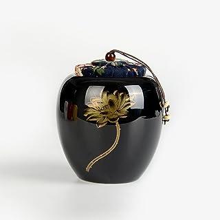 Ajusen おしゃれ茶筒 貯蔵タンク 高級 陶磁器 保存容器 茶缶 茶入れ 密閉 茶道道具 伝統 焼き物 密封缶 ミニ 乾物保存 工芸品 手描き プレゼント (カラー2)
