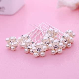 LUKEEXIN Bridal Pearl Hair Bun Bridal Pearl Hair Accessories White Wedding Dress Accessories Bridal Handmade Headwear 12pcs (Color : White)