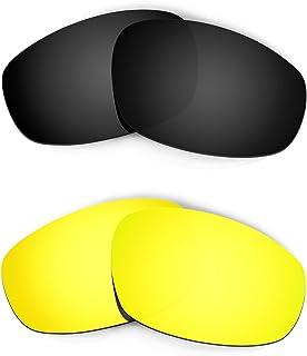 Hkuco Plus Mens Replacement Lenses For Oakley Split Jacket Black/24K Gold Sunglasses