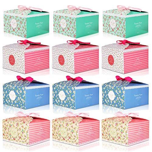 FHYT 12 Stück Geschenkboxen, Geschenkschachtel für Kuchenstücke Hochzeitstorte, Cupcakes Muffins Hochzeit Gastgeschenke Schoko Deko Geschenkboxen