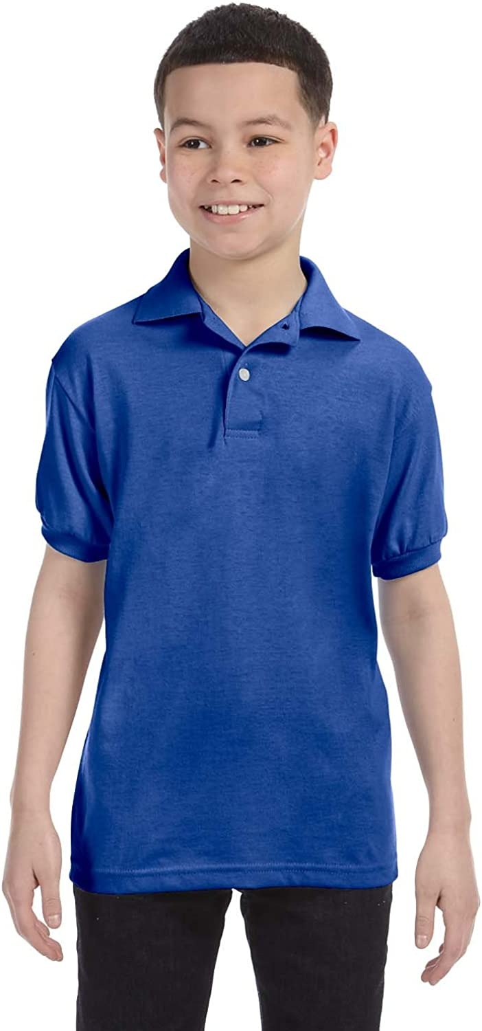 Hanes Youth Short Sleeve Knit Tag-Free Label Polo Jersey, Deep Royal, Large