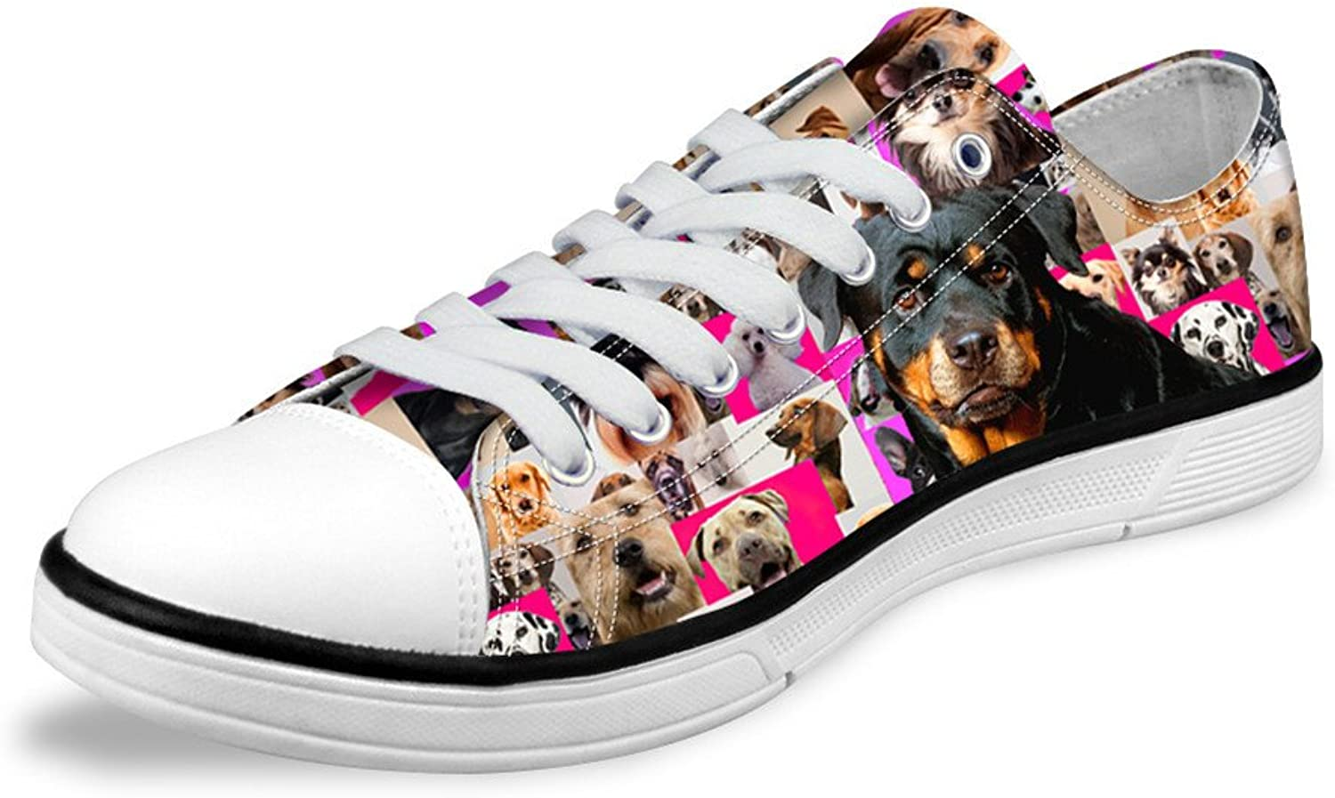 Micandle Dogs Print Low Top Canvas shoes Trainers Sneakers for Women Men