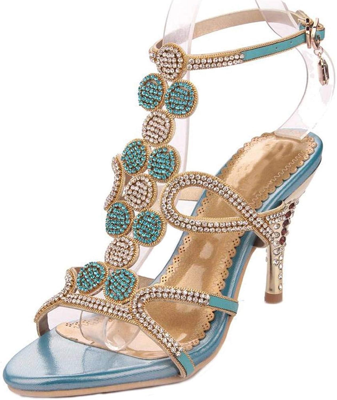 LizForm Crystal Studs Strappy Evening High Heel Rhinestone Ankle Strap Wedding Sandals