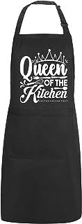 پیش بندهای خنده دار POTALKFREE برای زنان با 2 جیب ، ملکه آشپزخانه ، پیش بند آشپز آشپزخانه ضد آب قابل تنظیم ، هدایای مادر ، همسر ، دوستان