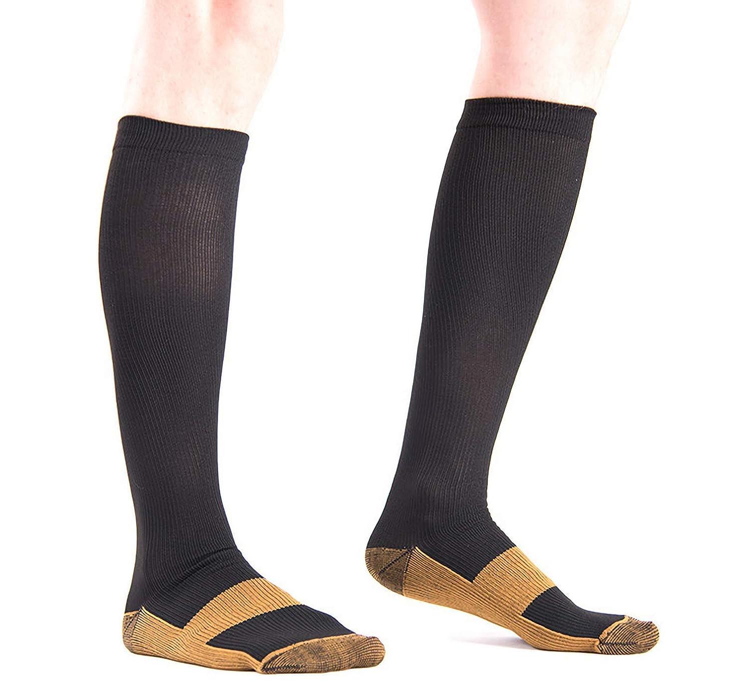 ガイド年独裁者着圧ソックス 銅圧縮 コンプレッションソックス 膝下 抗疲労 男女兼用ユニセックス (S/M, ブラック)