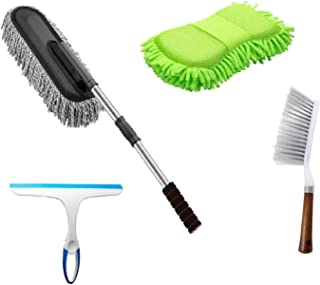 Winberg ® Car cleaning Combo Pack Microfiber Duster,Carpet Brush,Scurb,Glass Wiper full Interior and Exterior Cleaning Kit - CarCLNG04