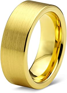 Tungsten Wedding Band Ring 8mm Men Women Comfort Fit Grey 18k Yellow Gold Flat Cut Brushed Polished
