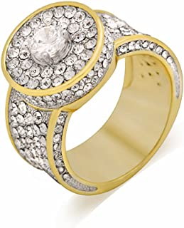 LuReen Hiphop 18k Gold Cluster Lab Simulated Diamond CZ Iced Out Pinky Ring for Men