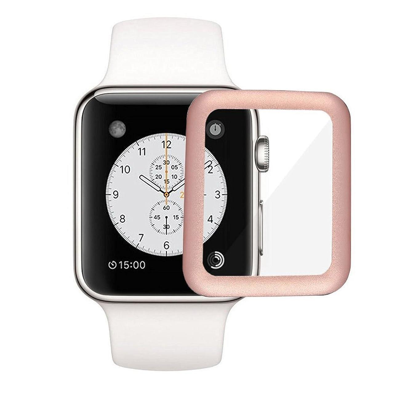 満たすスーツケース西Apple Watch 42mm フィルム COLIN Apple Watch Series 2 フィルム 3D 全面ガラス アップル ウォッチ カバー 日本製素材使用 耐指紋 耐衝撃 Apple Watch Series 2 強化ガラスフィルム (ローズゴールド)