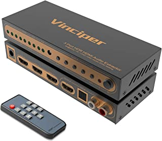 Vinciper HDMI Switch, 3 Ports 4K@60Hz HDMI Audio Extractor,HDMI 2.0 Switcher with Optical Toslink SPDIF & RCA L/R Audio Out, HDMI Splitter with IR Remote Support UHD/HDR/Dolby Vision/Atmos/18Gbps/ARC