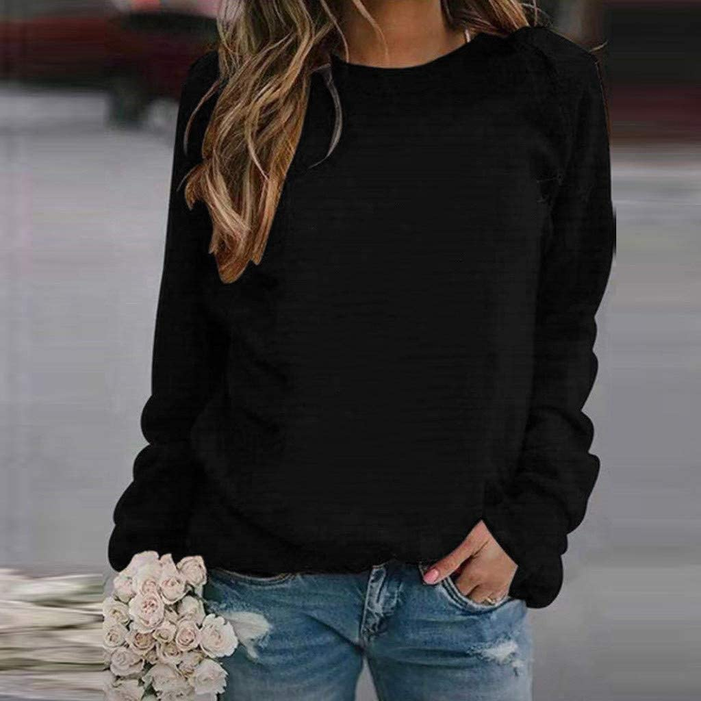 UOCUFY Tops for Women Long Sleeve, Womens Tunics Shirts Tops Long Sleeve Comfy Casual Crewneck Loose Pullover Tops