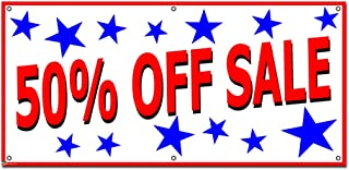 Graphics and More 50 Percent Off Sale with Stars Patriotic - Retail Store Business Sign Banner - 46