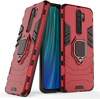 Compatible with Redmi Note8 Pro Case, Metal Ring Grip Kickstand Shockproof Hard Bumper (Works with Magnetic Car Mount) Dua...